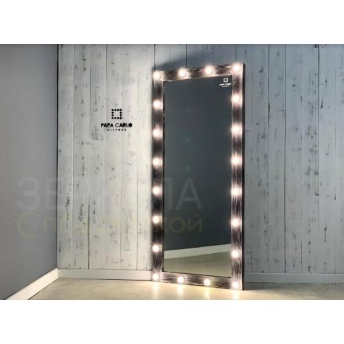 Гримерное зеркало бело-черная патина 180х80 с подсветкой