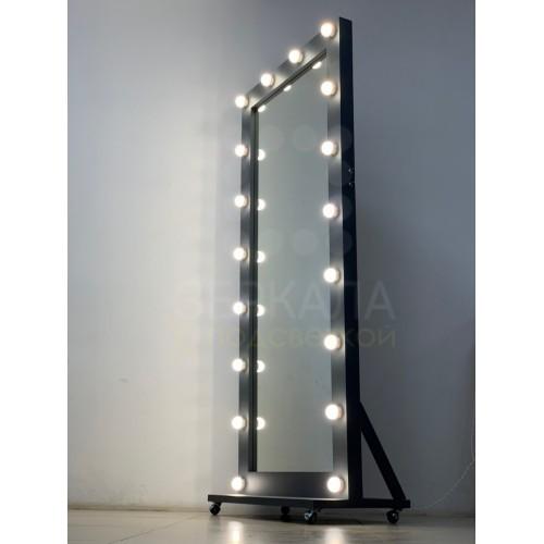 Гримерное зеркало серого цвета 180х80 с подсветкой на подставке